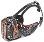"Hand painted by our artists leather Muzzle ""Dondi"" Plus - FLAMES"
