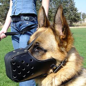 Agitation Leather Dog Muzzle For German Shepherd-training Muzzle