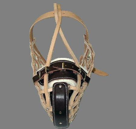 dog training muzzle - wire basket leather dog muzzle