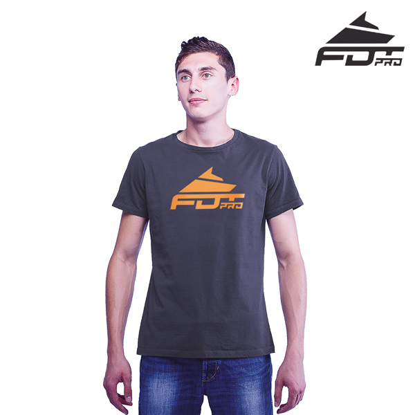 Durable Cotton FDT Pro Men T-shirt of Dark Grey Color