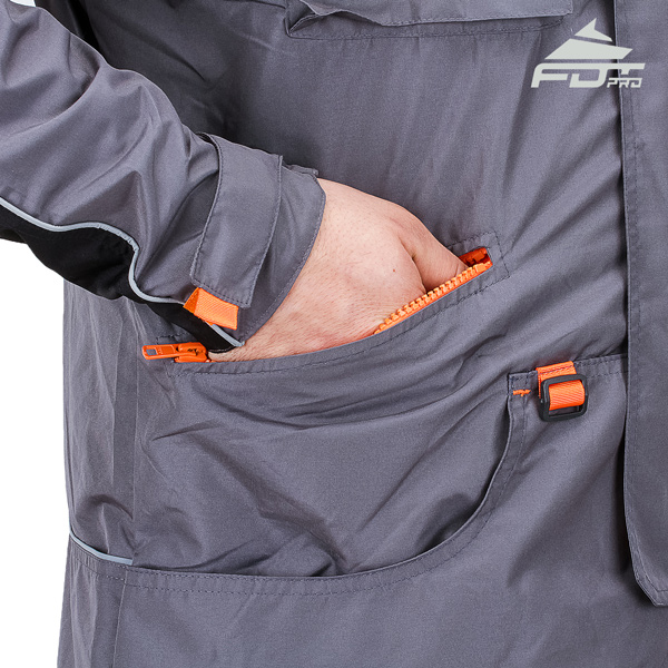 Grey Color FDT Professional Design Dog Tracking Jacket with Comfortable Side Pockets