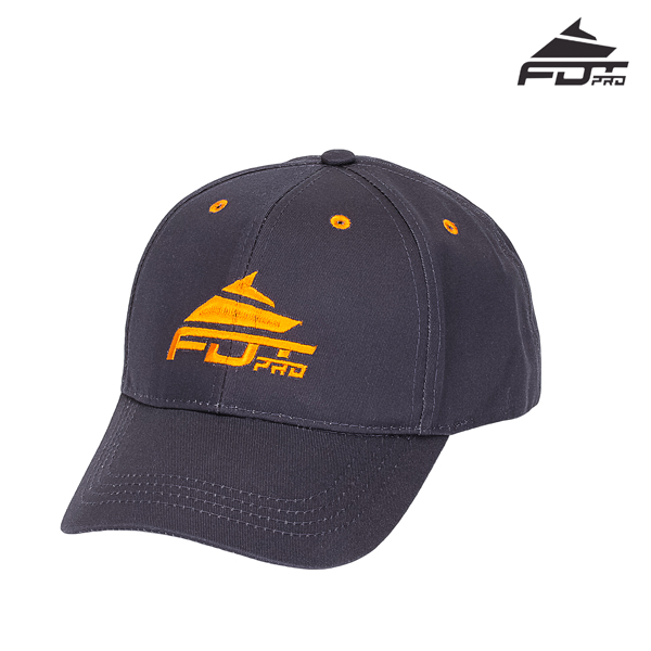 One-size Dark Grey Color Cap with Orange Logo for Dog Training